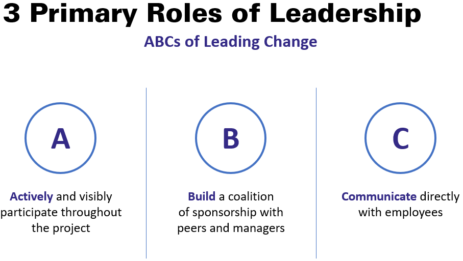 The three primary roles of leadership in change initiatives