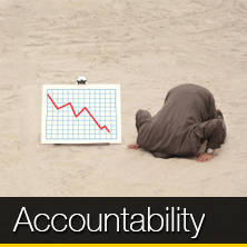 An image of a person with their head in sand that links to our accountability page
