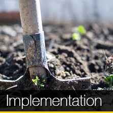 An image of a shovel deep in dirt that links to our implementation page