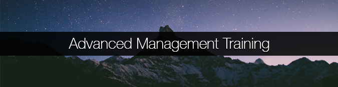 An image of a mountain peak and the night sky that links to our advanced management training page