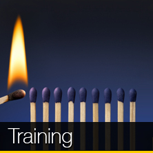 An image of a match sparking a bunch of matches that links to our training page